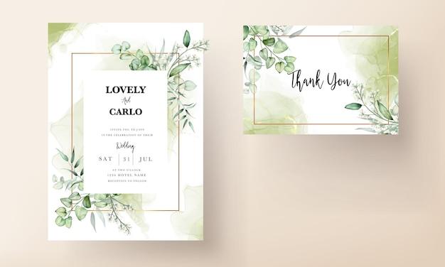 Hochzeitseinladungskartenschablone mit eukalyptusblättern aquarell Premium Vektoren