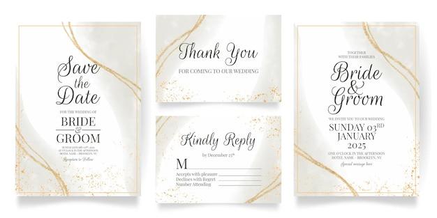 Hochzeitseinladungskartenschablone mit goldenem hintergrund