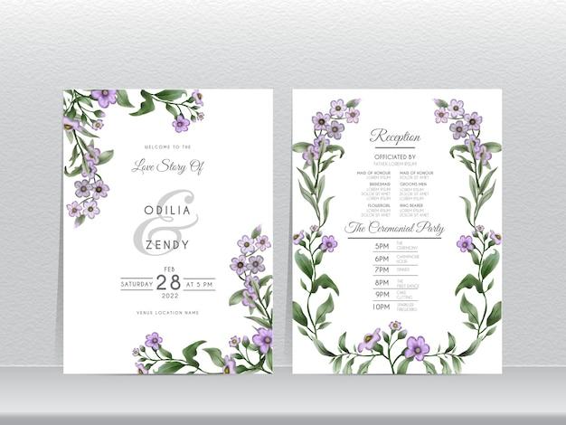 Hochzeitseinladungskartenschablone mit hand gezeichnet vergiss mich nicht blumenentwurf