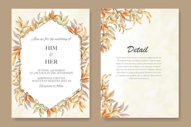 Hochzeitseinladungskartenschablone mit herbstlaub