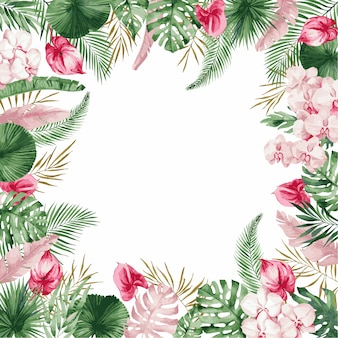 Hochzeitseinladungskartenschablone mit rosa frühlingsblumen, illustration.