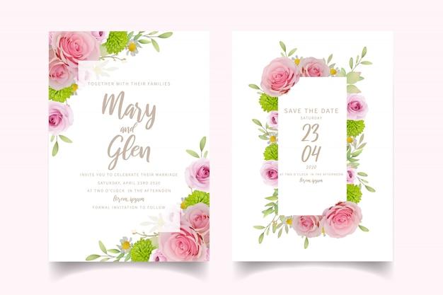Hochzeitseinladungskartenschablone mit rosa mit blumenrosen
