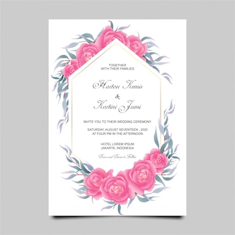 Hochzeitseinladungskartenschablone mit rosafarbenem blumenrahmen der aquarellart