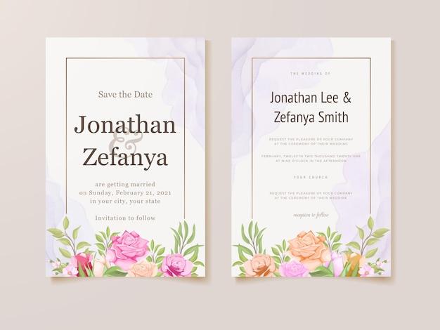 Hochzeitseinladungskartenschablone mit schönem blumenvektor
