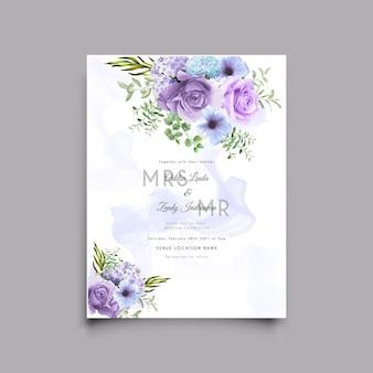 Hochzeitseinladungskartenschablone mit schönem rosenillustrationsentwurf