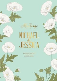 Hochzeitseinladungskartenschablone mit schönen weißen mohnblumen.