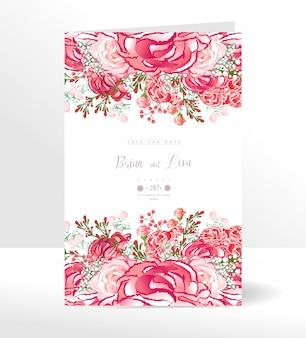 Hochzeitseinladungskartenschablone mit schöner blumenart.