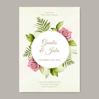 Hochzeitseinladungskartenschablone mit schöner rose und blättern