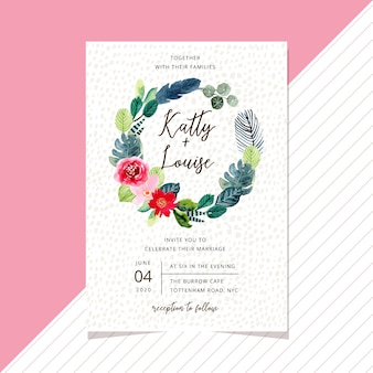 Hochzeitseinladungskartenschablone mit süßem tropischem aquarellblumenkranz