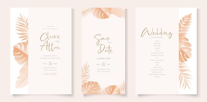 hochzeitseinladungskartenschablone mit tropischem design