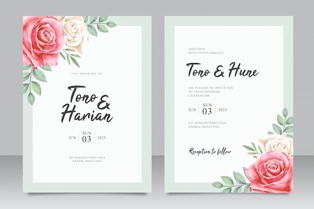 Hochzeitseinladungskartenschablone mit unbedeutendem blumen