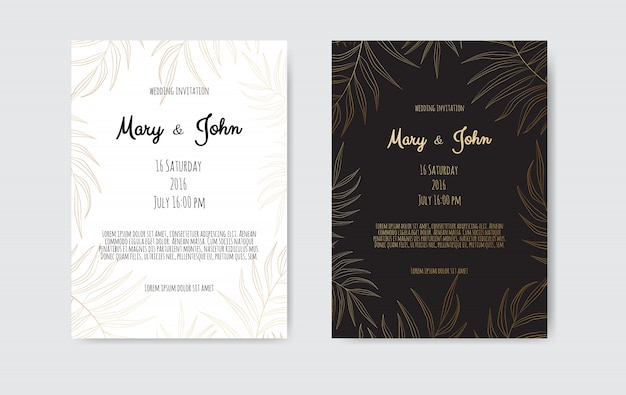 Hochzeitseinladungskartenschablone schwarzweiss