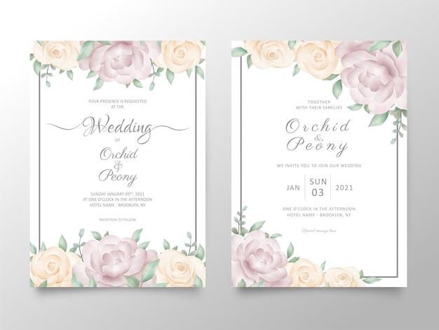 Hochzeitseinladungskartenschablone stellte mit aquarellrosen und pfingstrosenblumen ein
