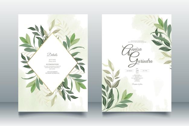 Hochzeitseinladungskartenschablone stellte mit schönen blättern ein