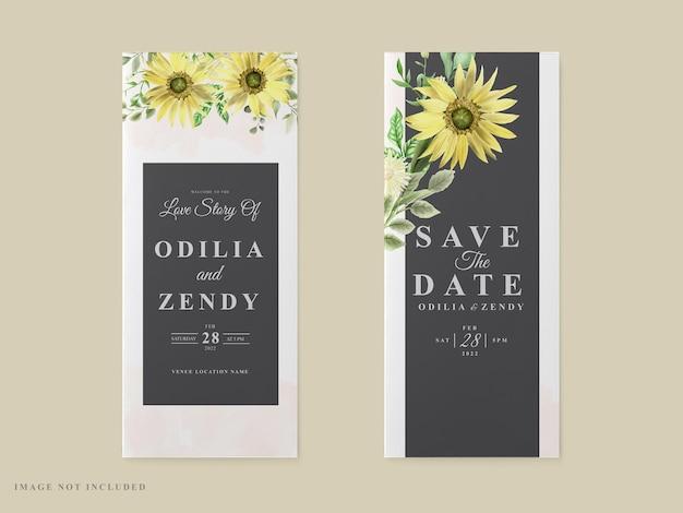 Hochzeitseinladungskartenschablonen-sonnenblumenmotiv