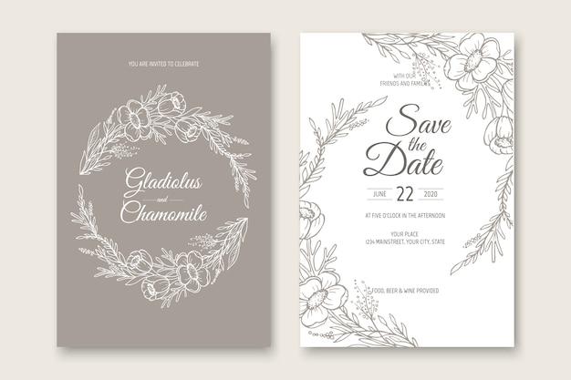 Hochzeitseinladungskartenschablonenentwurf. vorlage, rahmen mit blumen, zweigen, pflanzen.