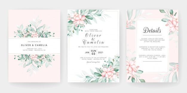 Hochzeitseinladungskartenschablonensatz mit blumendekorationen des weichen pfirsichaquarells.