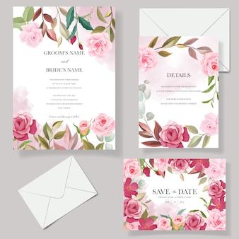 Hochzeitseinladungskartenschablonensatz mit schönen blumendekorationen
