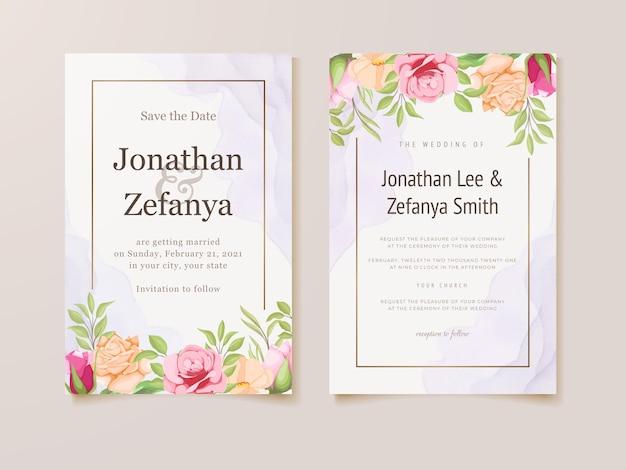 Hochzeitseinladungskartenset blumenschablonendesign