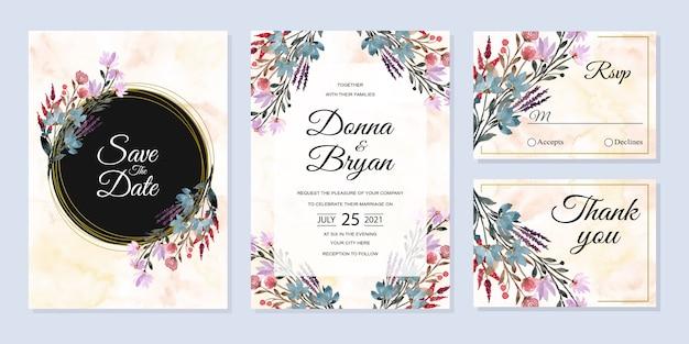 Hochzeitseinladungskartenset mit abstraktem hintergrund des wilden blumenaquarells
