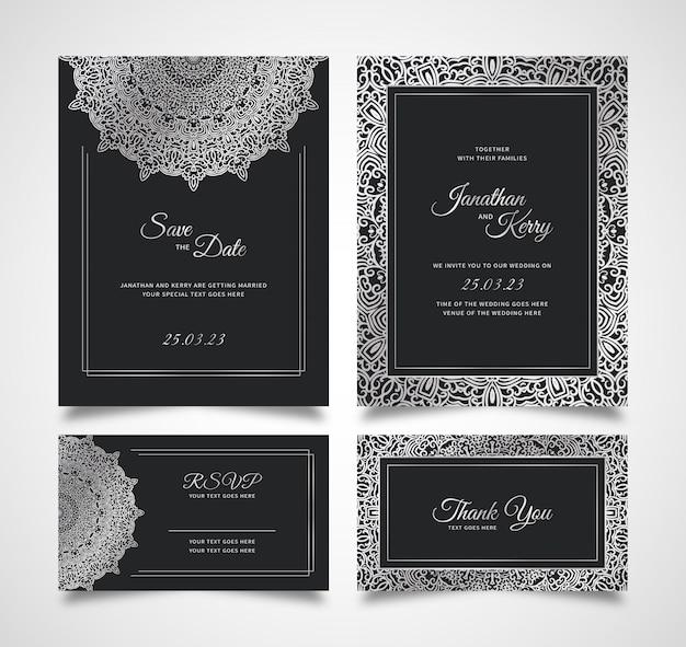 Hochzeitseinladungskartenset mit abstrakter blumenhintergrundschablone