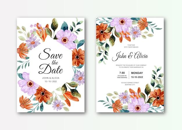 Hochzeitseinladungskartenset mit aquarell lila brauner blume