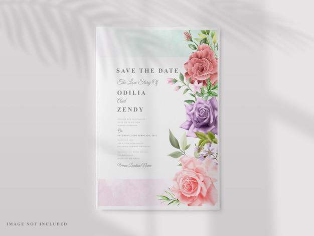 Hochzeitseinladungskartenset mit bunter blumenhand gezeichnet