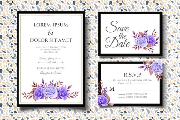 Hochzeitseinladungskartenset mit eleganten blumenblättern