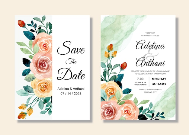 Hochzeitseinladungskartenset mit rosenblumenaquarell