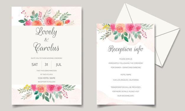 Hochzeitseinladungskartensetschablone mit blumen- und blattaquarell