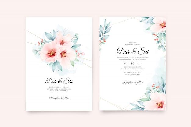Hochzeitseinladungskartensetschablone mit goldener linie auf blumenaquarell