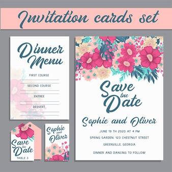 Hochzeitseinladungskartensuite mit blumen.