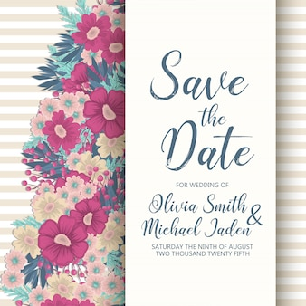 Hochzeitseinladungskartensuite mit blumen