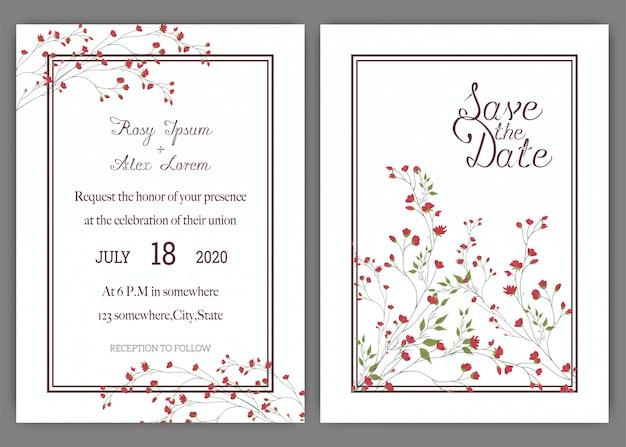 Hochzeitseinladungskartensuite mit gänseblümchenblume schablonen.