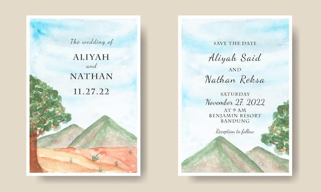 Hochzeitseinladungskartenvorlage mit aquarell-himmel-berg-hintergrund