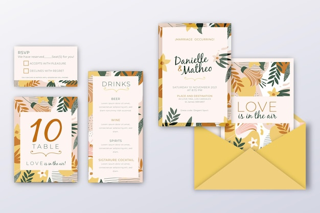 Hochzeitseinladungspaketvorlage mit blättern