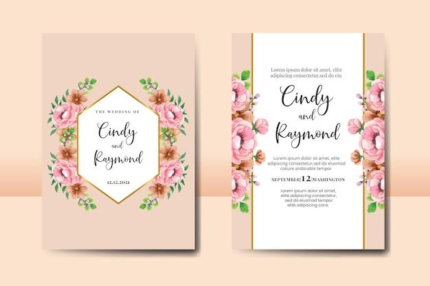 Hochzeitseinladungsrahmen gesetzt, blumenaquarellhand gezeichnete pfingstrosenblumen-einladungs-kartenschablone