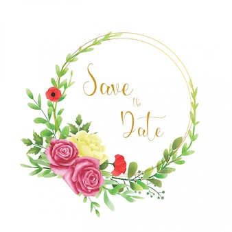 Hochzeitseinladungsrahmen mit aquarellartblumen