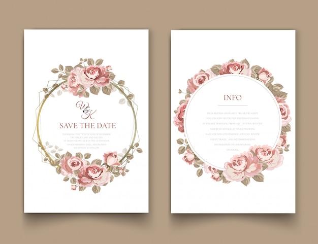 Hochzeitseinladungsrahmen mit rosen.