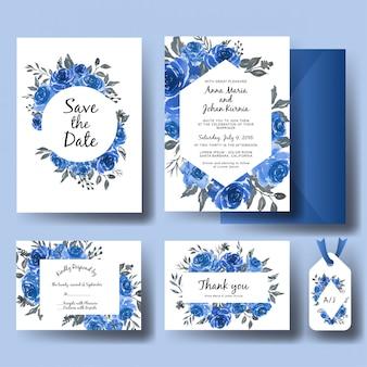 Hochzeitseinladungssatz der blauen mit blumenschablone des süßen aquarells