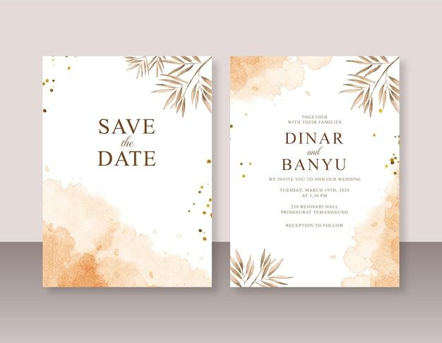 Hochzeitseinladungssatzschablone mit abstraktem aquarellspritzen