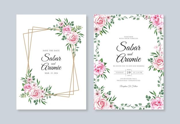 Hochzeitseinladungssatzschablone mit aquarellblumen