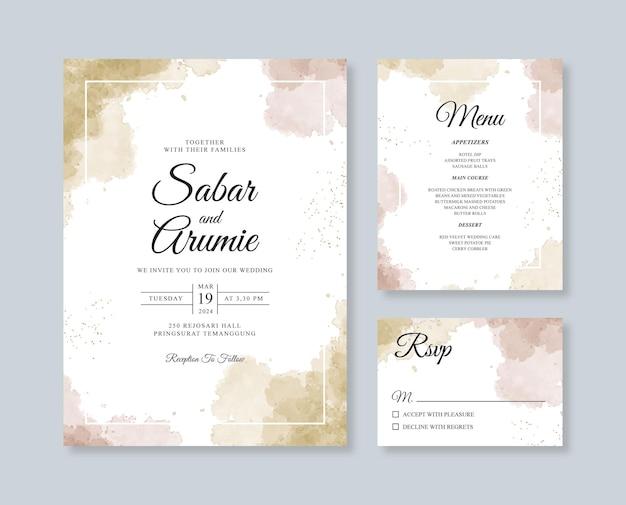 Hochzeitseinladungssatzschablone mit aquarellspritzen