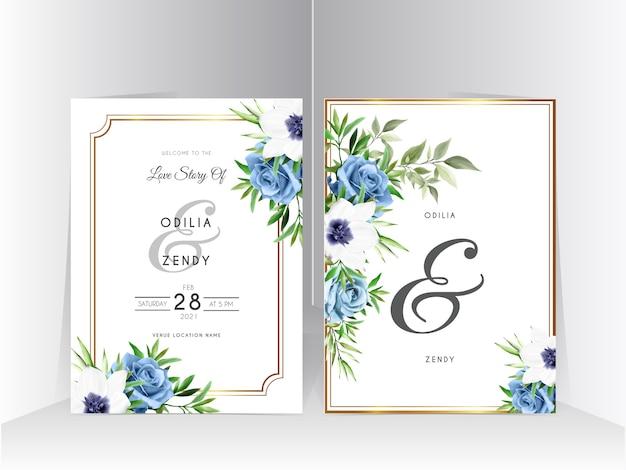 Hochzeitseinladungssatzschablone mit elegantem königsblau-rosendesign