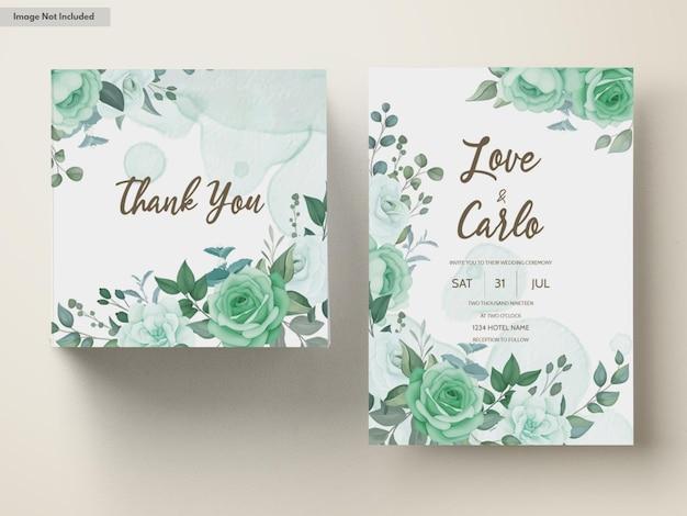 Hochzeitseinladungssatzschablone mit grünblumen