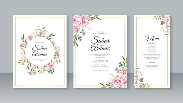 Hochzeitseinladungssatzschablone mit handmalereiaquarellblumen