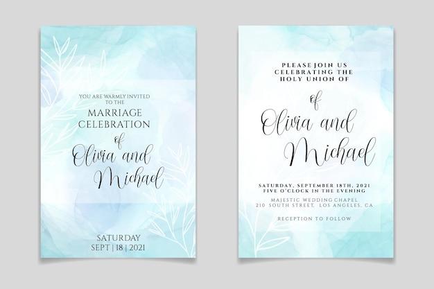 Hochzeitseinladungsschablone auf pastellblauem flüssigem marmoraquarellhintergrund