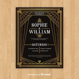 Hochzeitseinladungsschablone der Weinlese dunkle im Art- DecoDesign