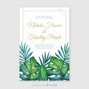 Hochzeitseinladungsschablone des aquarells tropische