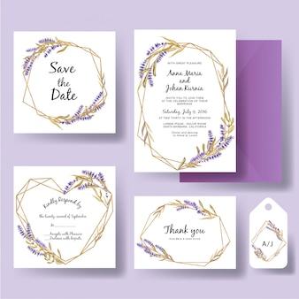 Hochzeitseinladungsschablone des geometrischen goldes mit aquarelllavendelblume